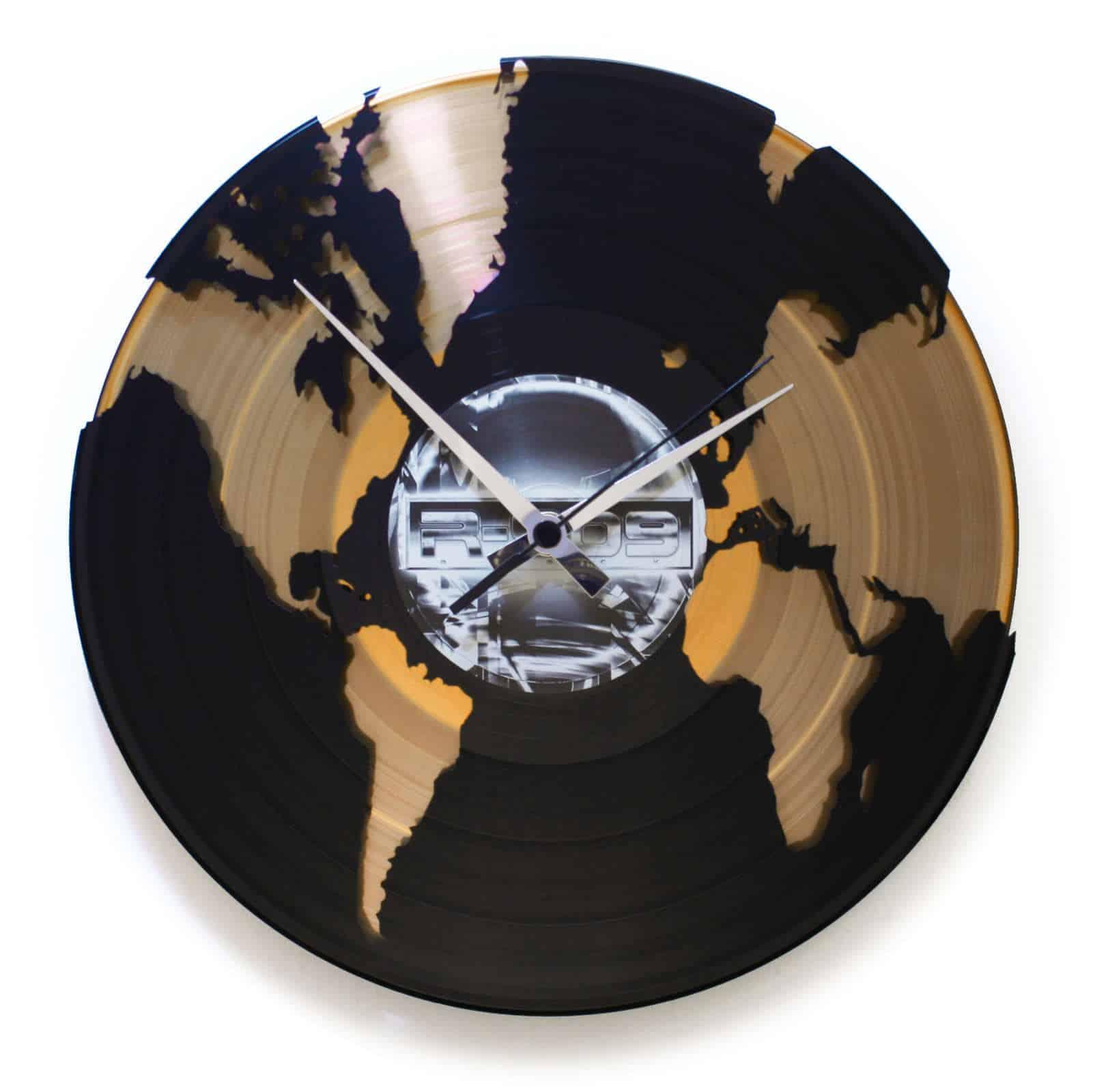 WORLD stenska ura iz gramofonske plošče