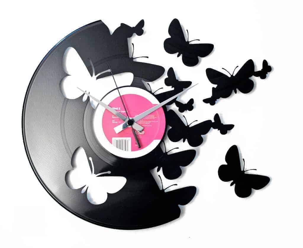 BUTTERFLIES stenska ura iz gramofonske plošče