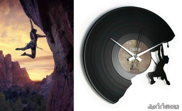 orologio da parete con disco in vinile arrampicata e arrampicatore