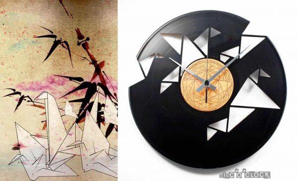 orologio da parete con disco in vinile a tema origami