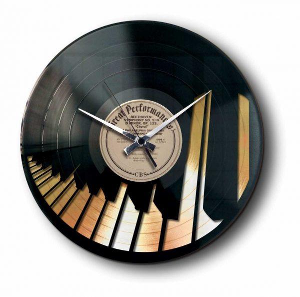 piano gold vinyl record clock