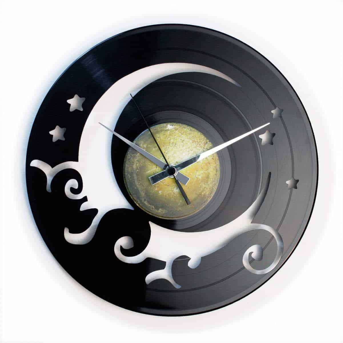 THE MOON VINYL RECORD CLOCK