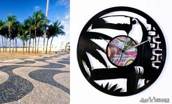 Orologio da parete con disco in vinile a tema natura