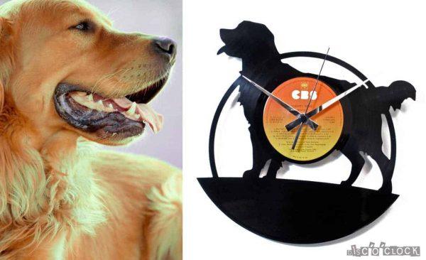 Orologio da parete con disco in vinile con cane