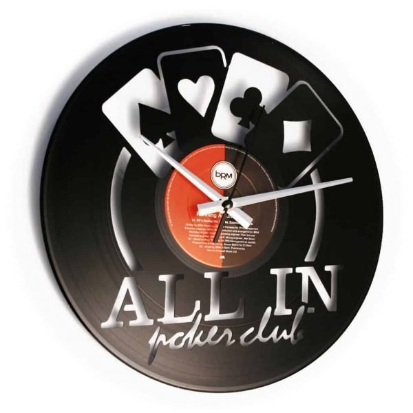 ALL IN POKER CLUB orologio con disco in vinile