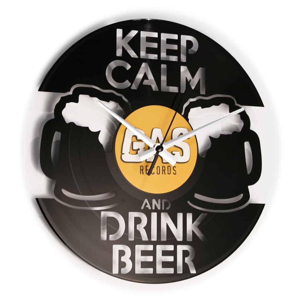 DRINK BEER stenska ura iz gramofonske plošče