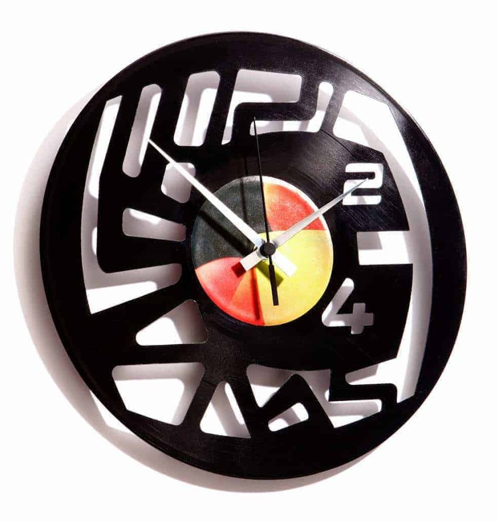 vinyl record clock with abstract numbers