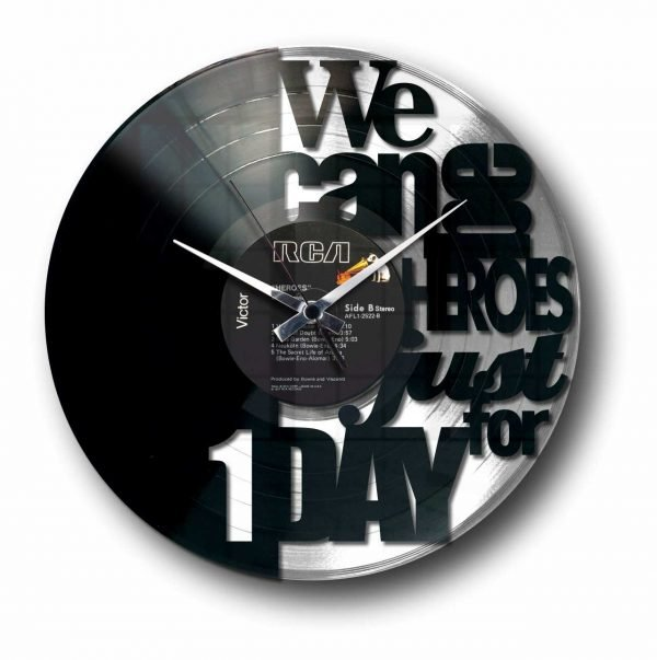 heroes bowie silver vinyl record wall clock