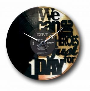 heroes bowie golden vinyl record wall clock