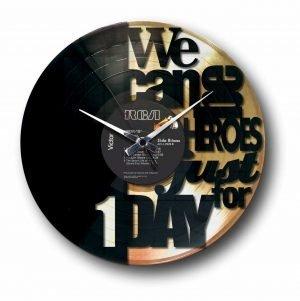 heroes bowie golden vinyl record wall clock