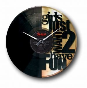 girls just want to have fun golden vinyl record wall clock