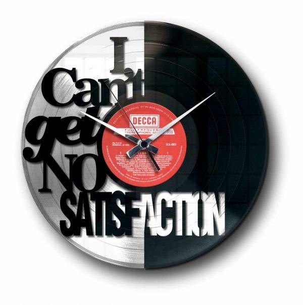 satisfaction rolling stones silver vinyl record wall clock
