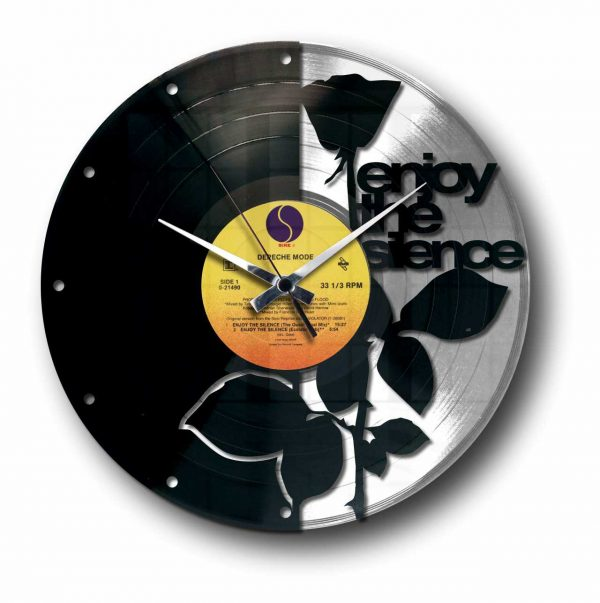 enjoy the silence depeche mode silver vinyl record wall clock