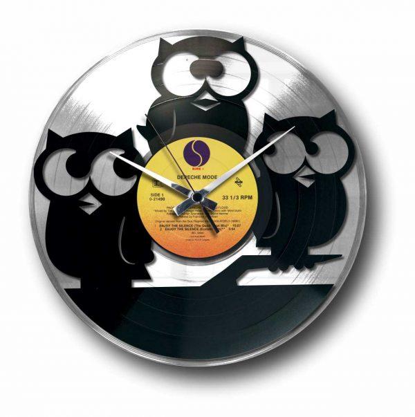 owls silver vinyl record wall clock