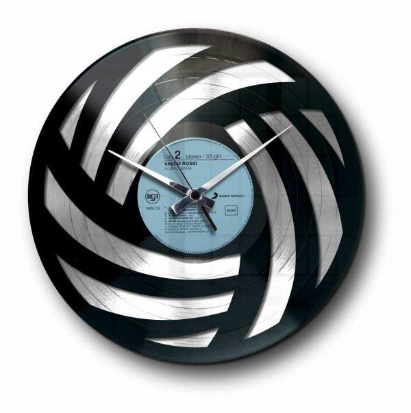 wool abstract silver vinyl record wall clock