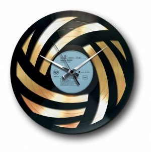 wool abstract Golden vinyl record wall clock