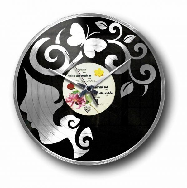 curly thoughts silver vinyl record wall clock