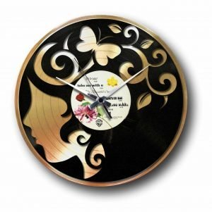 curly thoughts Golden vinyl record wall clock
