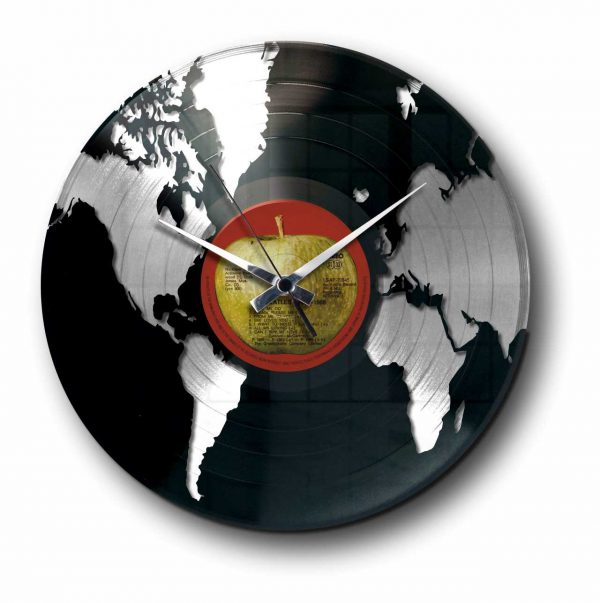 world silver vinyl record wall clock