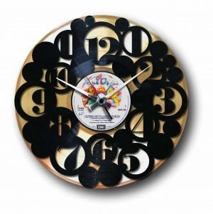 numbers golden vinyl record wall clock