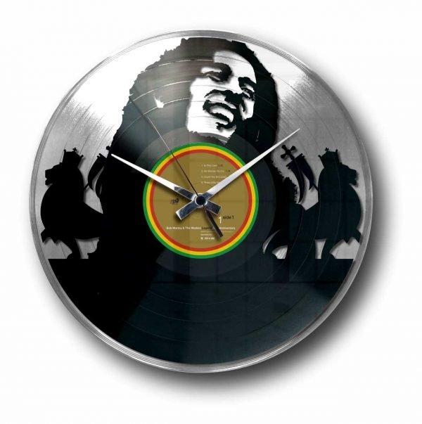 bob marley silver vinyl record wall clock