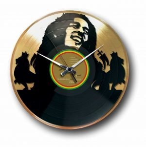 bob marley golden vinyl record wall clock