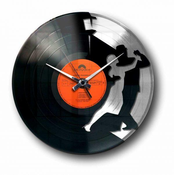 tango silver vinyl record wall clock