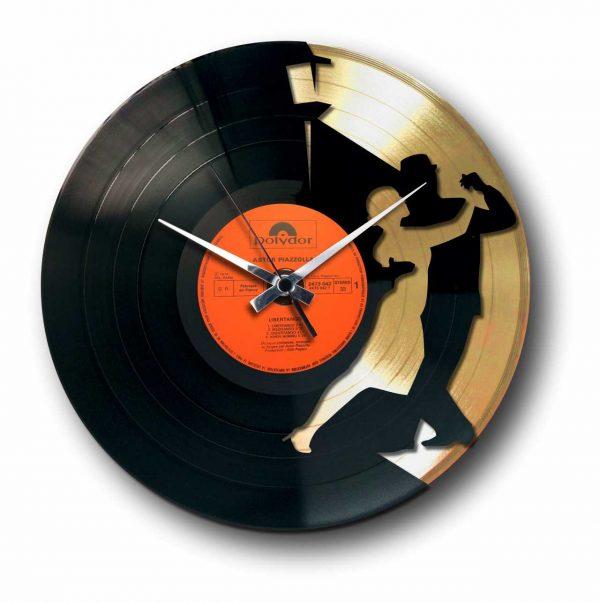 tango golden vinyl record wall clock