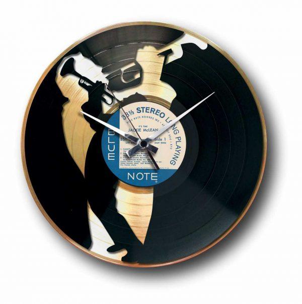 jazz golden vinyl record wall clock