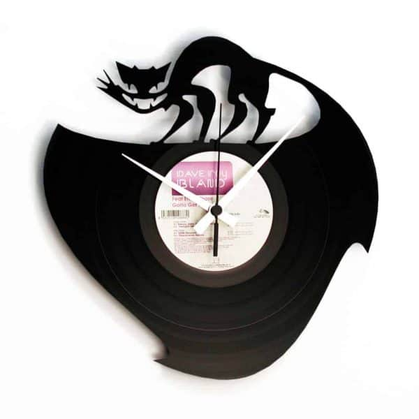 cat vinyl record clock