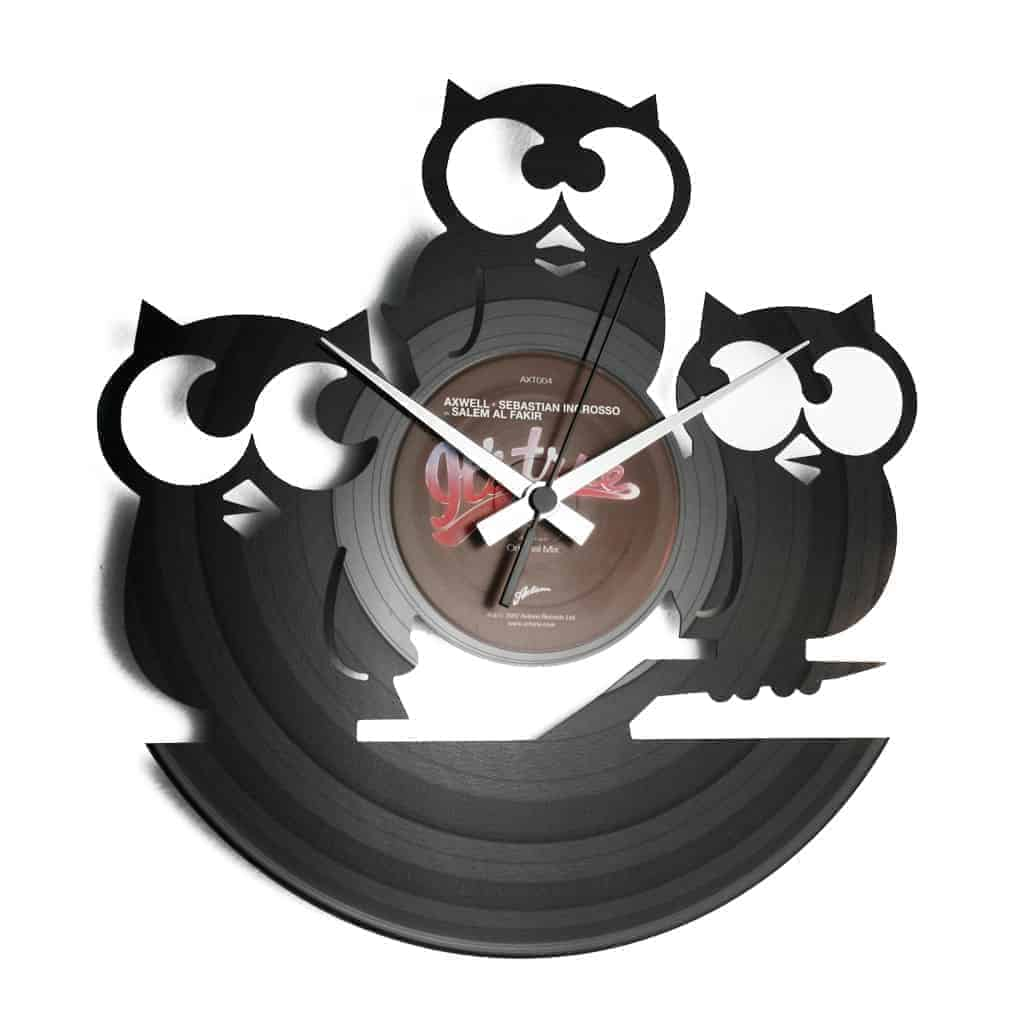 owls vinyl record clock