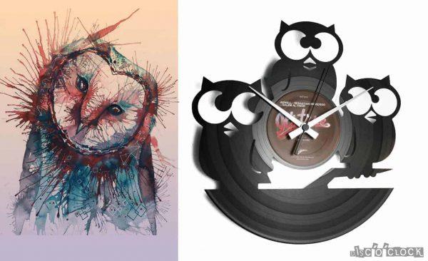 owls vinyl record clock