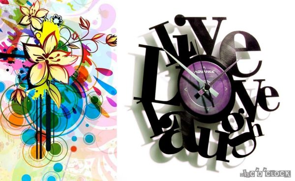 LIVE, LOVE, LAUGH vinyl record clock