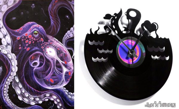 UNDERWATER LOVE vinyl record clock