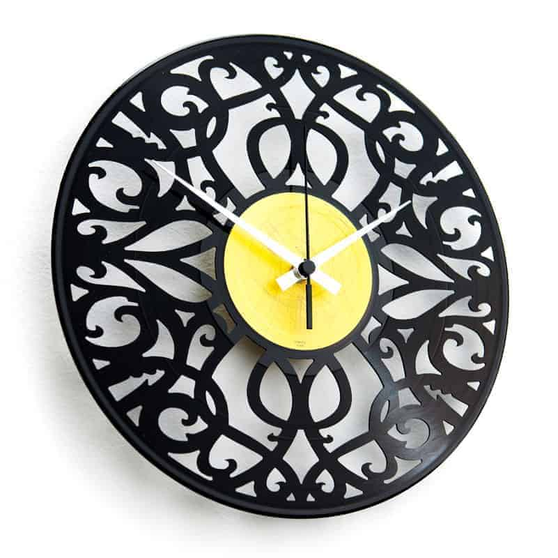 baroque vinyl record clock