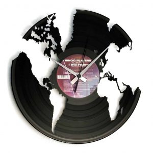 world vinyl record clock
