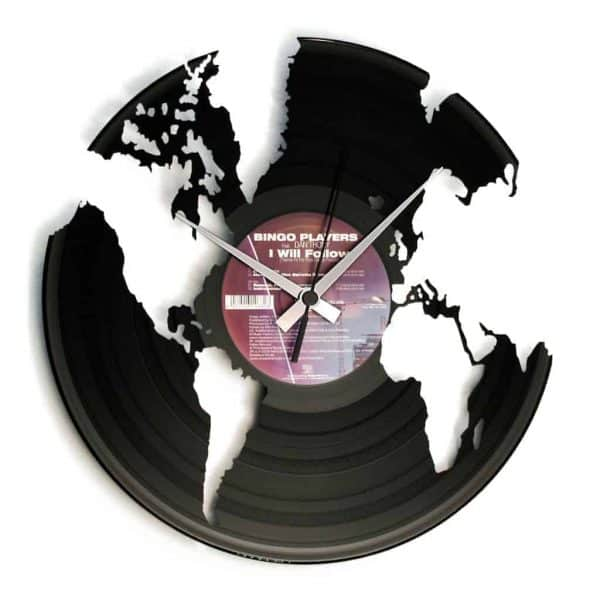 WORLD vinyl record clock