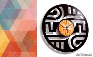 ABSTRACT vinyl record clocks