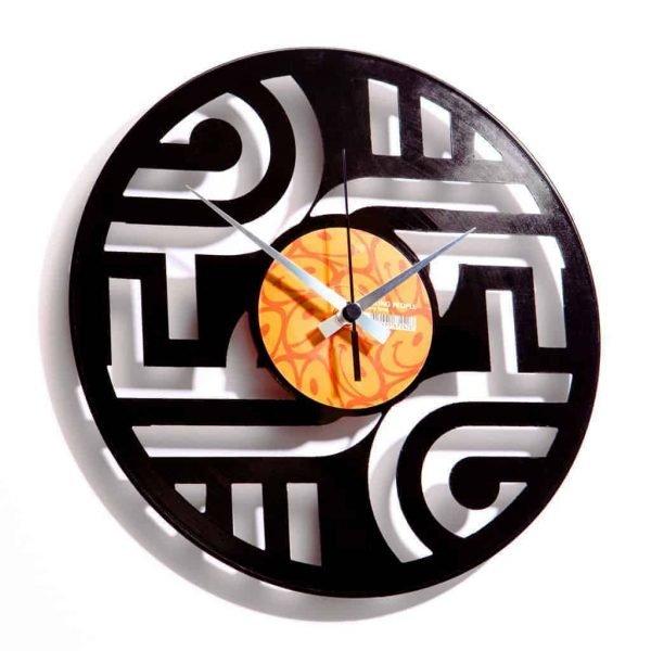 geometric vinyl record clock