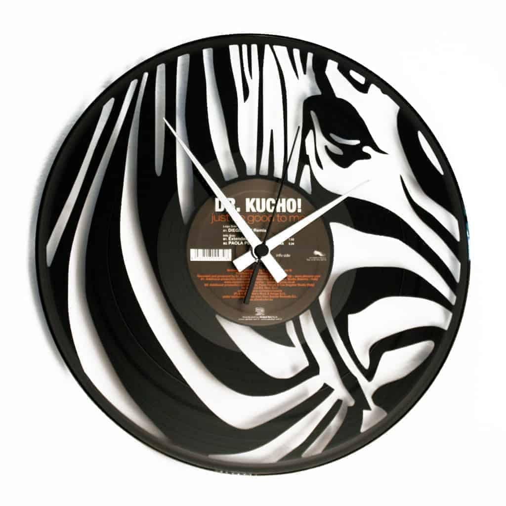 zebra vinyl record clock