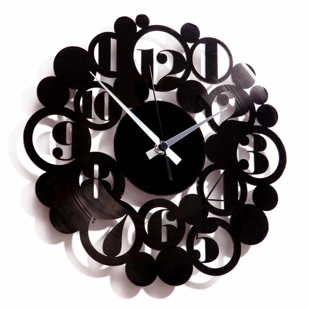 fancy vinyl record clock with numbers