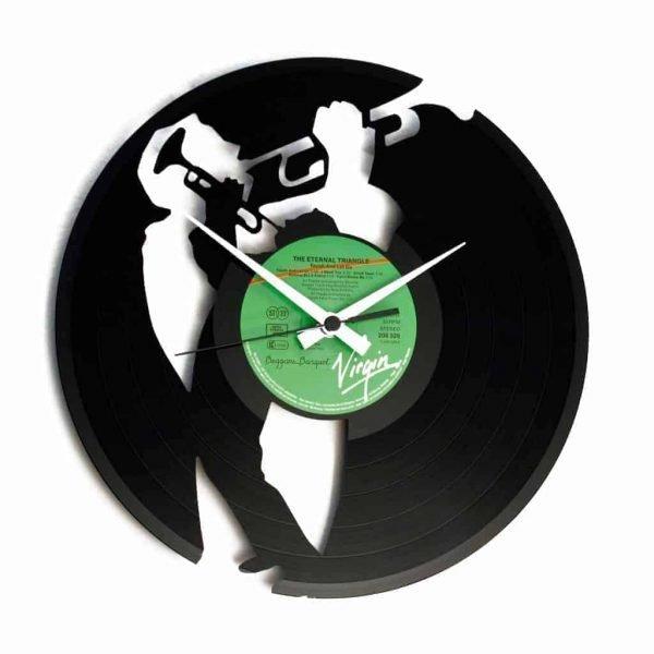 jazz player vinyl record clock