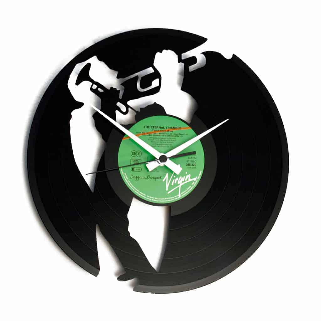 jazz player vinyl record clock
