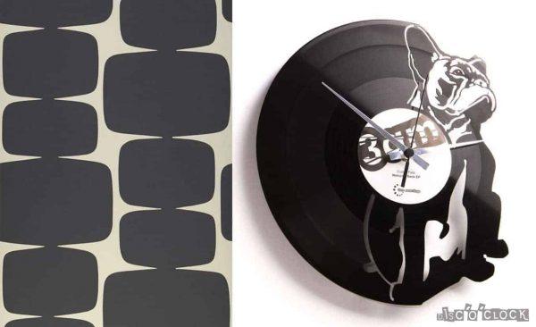 french bulldog vinyl record clock