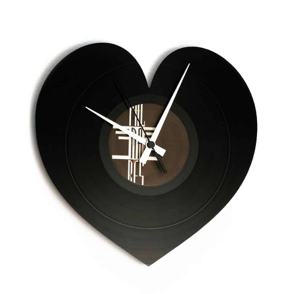 heart shaped vinyl record clock