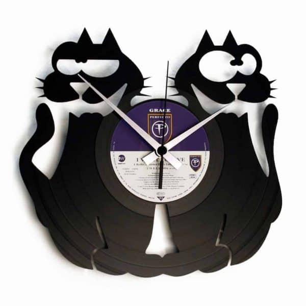 cats vinyl record clock