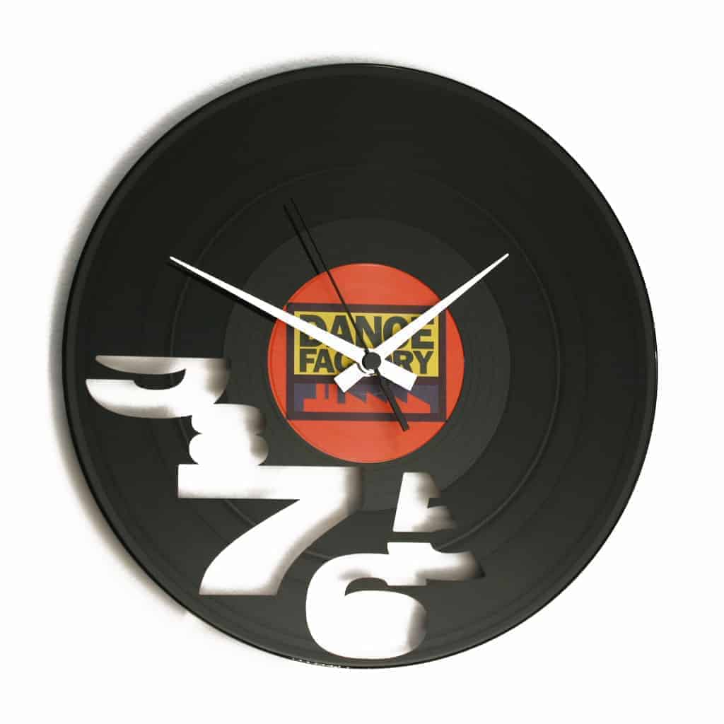 vinyl record clock with numbers