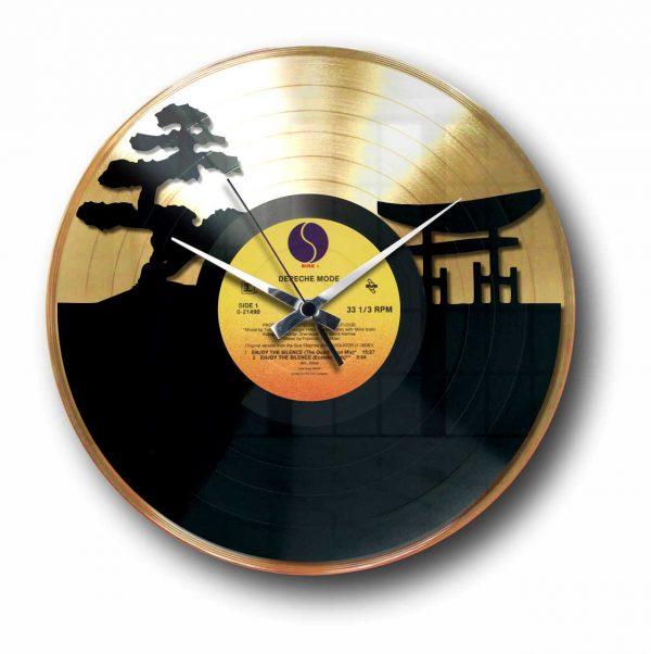 sunset Golden vinyl record wall clock