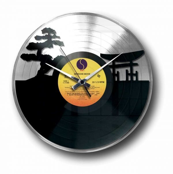 sunset silver vinyl record wall clock