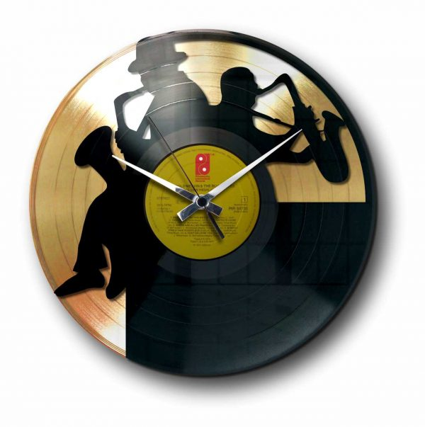 sax Golden vinyl record wall clock